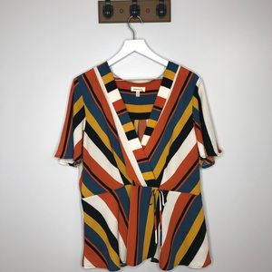 Monteau Multicolor Striped Short Sleeve Blouse